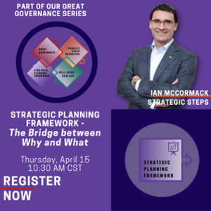 Strategic Planning Framework - The Bridge between Why and What Thursday, April 15, 1030 AM CST-1